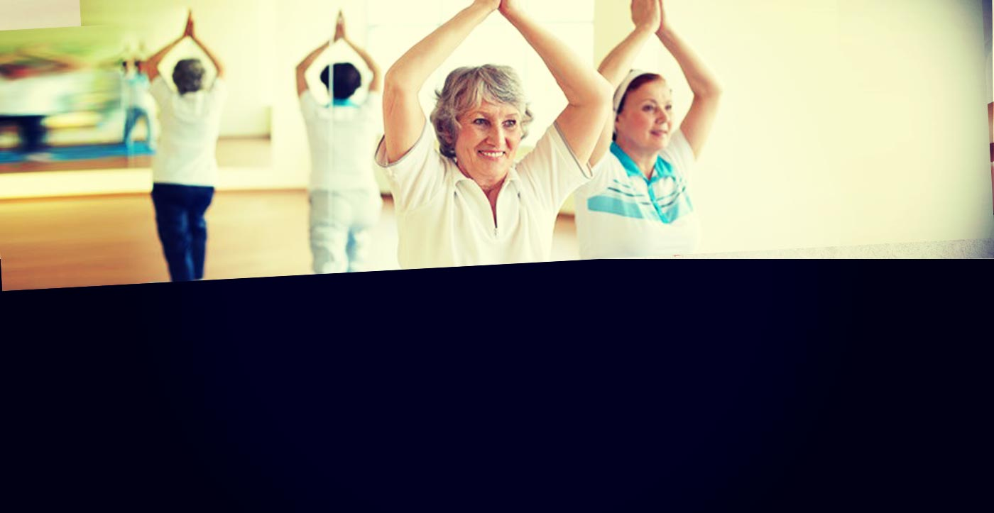 Image of older women attending a yoga class